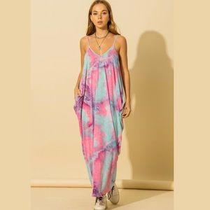 NWT Pink & Blue Tie-Dye Maxi Dress